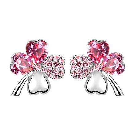 Fehérarannyal bevont lóhere fülbevaló pink Swarovski kristályokkal + AJÁNDÉK DÍSZDOBOZ (0973.)