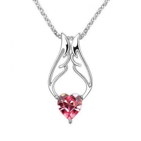 Pink angyalszárny - szív nyaklánc 18k fehérarany bevonattal, ausztriai kristállyal + AJÁNDÉK DÍSZDOBOZ (0133.)
