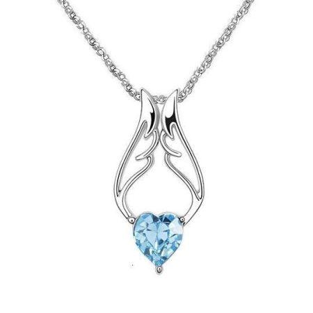 Kék angyalszárny - szív nyaklánc 18k fehérarany bevonattal, ausztriai kristállyal + AJÁNDÉK DÍSZDOBOZ (0084.)