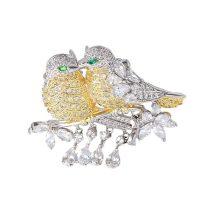 Arannyal és platinával bevont exkluzív madár pár bross CZ kristályokkal + AJÁNDÉK DÍSZDOBOZ (0567.)