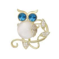 Arannyal bevont bagoly bross kék és áttetsző CZ kristályokkal + AJÁNDÉK DÍSZDOBOZ (0520.)