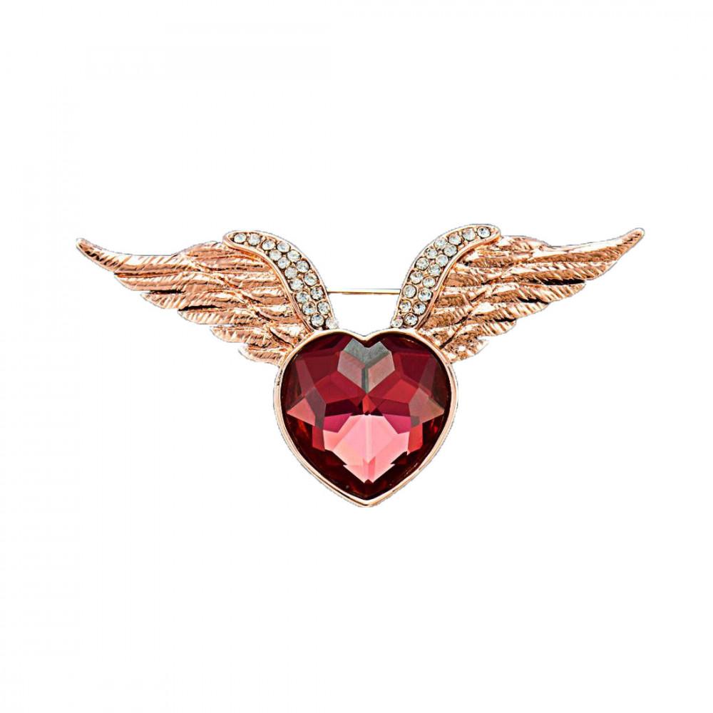 Rózsaarannyal bevont szárnyas szív bross ausztriai kristályokkal (0172.)