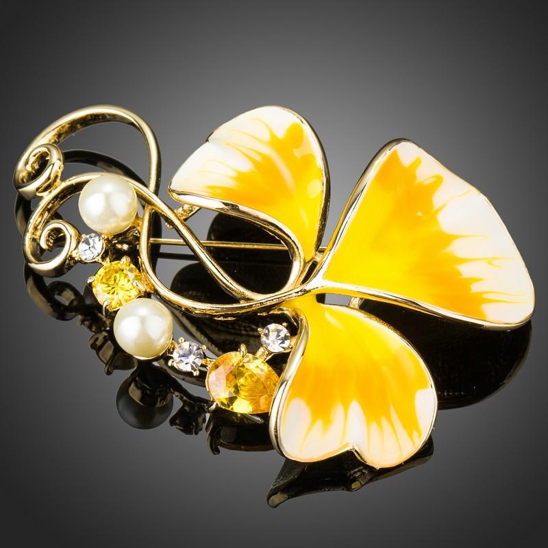 Arannyal bevont sárga olajfestéses virág bross ausztriai kristályokkal (0631.)