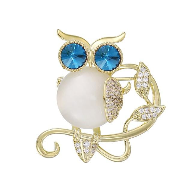 Arannyal bevont bagoly bross kék és áttetsző CZ kristályokkal (0520.)